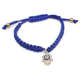 Wholesale Evil Eye Gold Charms - Wholesale- Good Luck Turkish Evil Eye Jewelry Handmade Hamsa Hand Charm Bracelet Red Green Blue Crystal Bracelets