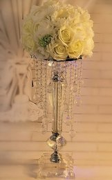 Wholesale H Ornament - Free shipping Acrylic K9 Crystal Column wedding props road lead T station road new decorative ornaments H 29inc 18inc 15inc