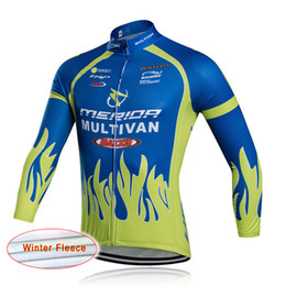 Wholesale Cycling Team Winter Jacket - pro team Merida Tour de France cycling jersey winter Men's long sleeve thermal fleece jacket Outdoor bike Sportswear ropa ciclismo C0303