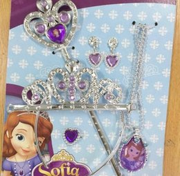 Wholesale Accessory Hair Jewelry - Sofia Princess Hair Accessories Crown Magic Stick Ring Necklace Earrings 5pcs set girls Halloween Cosplay princess Jewelry Sets KKA2457