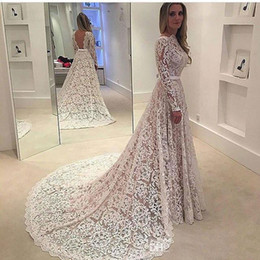 Wholesale Wholesale Champagne Color Wedding Gowns - 2017 Elegant Lace Wedding Dresses with Boat Neckline Long Sleeves Sweep Train Backless Bridal Gowns Vestido