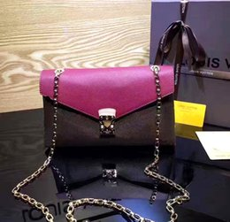 Wholesale Soft Acrylic - Free shipping!New Orignal real leather fashion famous chain shoulder bag handbag presbyopic card holder purse evening bag messenger felicie