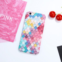 Wholesale Iphone Cases For Girls 3d - Creative Colorful 3D Scales Squama Phone Cases pink Rainbow Hard case For iPhone 7 Plus 7 6 6S Plus Korean Girls Mermaid Cover