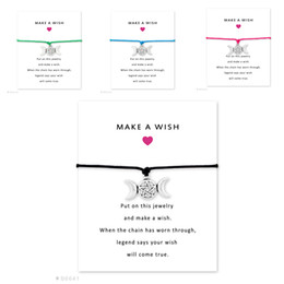 Wholesale Triple Bangle Charm Bracelet - Silver Triple Moon Goddess Magic Wiccan Dome Charm Gifts For Bracelets & Bangles Women Girls Adjustable Friendship Jewelry