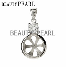 Wholesale Wholesale Silver Pendant Blanks - Bulk of 3 pieces Pendant Clear Cubic Zirconia 925 Sterling Silver Findings Blank Pendant DIY Jewellery Making