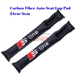 Wholesale Car Seat Filler - 2pcs lot car styling Leather Car Spacer Filler Padding Plug S line logo accessories Carbon Seat Gaps Plug Crevice Inserts Protective