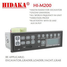 Wholesale Usb Customized - Wholesale-HIDAKA 12V 24V excavator radio Customized Frequency AM FM Radio with Bluetooth USB HI-M200 for HITACHI Komatsu Kobelco Sumitomo