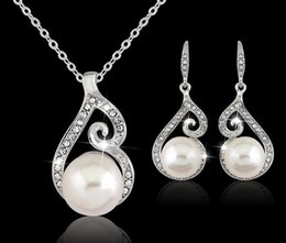 Wholesale Sterling Silver Necklace Earrings Set - 2016 Newest Women Crystal Pearl Pendant Necklace Earring Jewelry Set 925 Silver Chain Necklace Jewelry 12pcs Sale