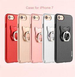 Wholesale Hard Case Cat Iphone - Matte PC material with Rotating cat Ring Holder Hard Shell Ultra-Thin Cell Phone Case for iPhone 6 6s plus 7  7plus