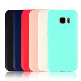 Wholesale Galaxy Phone Design - 2017 Candy Color TPU Case Matte Solid Color Cover for Samsung Galaxy S6 S7 Edge S8 Silicone Soft Phone Back Cover Slim Design