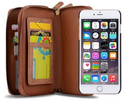 Wholesale Magnet Cover Iphone 5s - Luxury wallet phone case for iphone 7 6 6s plus 5s S7 PC leather mirror Protective cover case Magnet defender cases 2 zippers GSZ230
