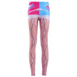 Wholesale Waffle Cones - NEW Arrival 3872 Sexy Girl Women Raibow ice cream cone Waffle Prints Running Elastic GYM Fitness Sport Leggings Yoga Pants