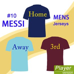 Wholesale Messi Football Player - 2017 18 Home Away 3rd Player Version Soccer Jersey 8# INIESTA 20# ROBERTO 10# MESSI Mens Soccer Uniforms Short Sleeves Football Jersey