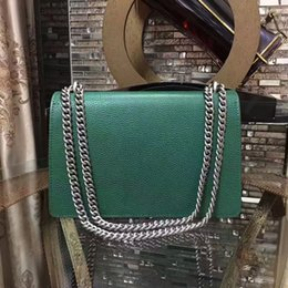 Wholesale Chain Tops Women - luxury green genuine leather handbags hardware chian shoulder bags for noble lady top cow leather day clutches midle size 28cm