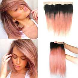 Wholesale 1b Pink Human Hair - Ombre 1B Rose Gold Silky Straight Human Hair Bundles With Lace Frontal Two Tone Ombre Pink Frontal With Brazilian Virgin Hair Extension