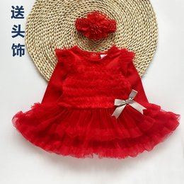 Wholesale Pleated Headband - Christmas Baby Dress long sleeve short sleeve tutu dress+headbands 2 pieces sets lovely baby clothing 4s l