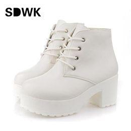 Wholesale White Combat Boots - Wholesale-New Fashion Black&White Women Platform Heels Ankle Boots Thick Heel Platform Shoes Combat Boots B194
