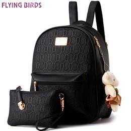 Wholesale School Bag Birds - Wholesale- FLYING BIRDS! 2016 women backpack fashion women leather Backpacks ladies girls school bags shoulder bags female bag LS8359fb