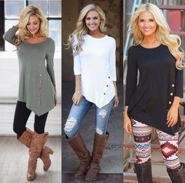 Wholesale Geometric White Womens Top - Casual Cotton Asymmetrical Button T-Shirt Womens Scoop Neck 3 4 Sleeve Shirt Novelty Russian Women Tops