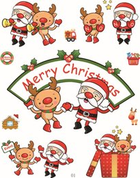 Wholesale Christmas Wall Art Decals - DIY Christmas Stickers Decoration for kids Santa Claus gifts Window wall sticker Removable Windows art Sticker home Decor 16 style Wholesale