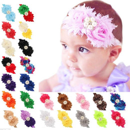 Wholesale Shabby Rhinestone - Newborn Baby Headbands Big flowers Infants Elastic Chiffon Bands Shabby Fabric Hairbands Girls Kids Rhinestone hair accessories KHA97