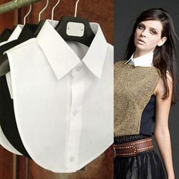 roupas falsas por atacado Desconto Atacado- 2017 nova camisa sólida falso colar branco preto Blusa Vintage destacável coleiras mulheres homens roupas acessórios