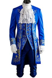 Wholesale Halloween Costumes Blue Men - Kukucos Beauty and the Beast Prince Dan Stevens Blue Uniform Cosplay Costume Outfit Suit Retro Palace Style