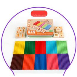 Wholesale mathematics montessori - Wholesale- 127pcs Wood Mathematics Game Stick + Cubes Math Toy For Kids Gift Children Arithmetic Montessori Educational Toys