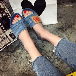 Wholesale Shoes Canvas Injection - 2017 Brand New denim slipper lady canvas women slippers summer shoes women fashion casual women's denim sandals slides solid flip flops