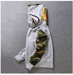 Wholesale Mouth Slimmer - Mens Female Sportwear Coat Jogger Tracksuit Pullover Fleece Sweatshirt Crewneck Bird OVO Drake Black Hip Hop stusay Hoodie Men Shark mouth