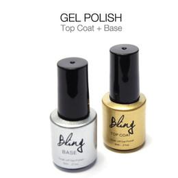 Wholesale clear base coat - Wholesale-Bling Gel Lacquer Top Base Coat Top it Off Soak-off Transparent Clear Colors Long-lasting UV LED Varnish Manicure 6ml