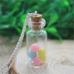 Wholesale Macaron Gift - 8PCS Miniature MACARON vial necklace. Vanilla, Chocolate, Strawberry macaroons. Miniature food jewelry
