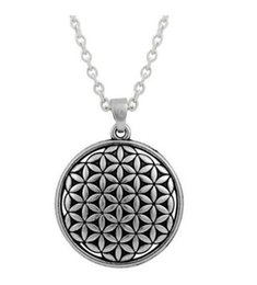 Baumelt diacharme online-Flower of Life Circle Slide Necklace Dangle Antique Silver Plated Religious Charms with Lobster Clasp