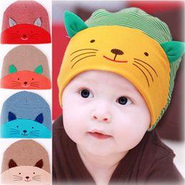 Wholesale Kawaii Winter Hats - Cute Kawaii Print Cat Hats Beanies For Toddler Baby Girl Boys Soft Striped Cotton Winter Ear Warmer Caps Accessory