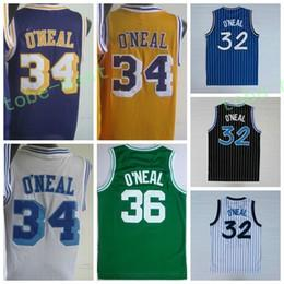 Wholesale Uniform Yellow - 2017 Retro 32 Shaquille ONeal Jersey Rev 30 New Material 34 Shaquille O Neal Shirts 36 ONeal Throwback Uniforms Yellow Purple White Blue