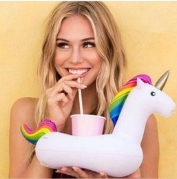 Wholesale Inflatables Floats - Unicorn Inflatable Cup Holder Drink Floating Party Beverage Boats Phone Stand Holder Pool Toys Party Supplies KKA1975