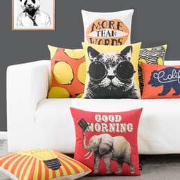 Wholesale Elephant Pillow Pattern Free - Free Shipping Panda Elephant Bear Pattern Decor Cushions Pop Modern Cartoon Pillow Cover Stylish Nordic Style Pillow Cases Can Be Customized