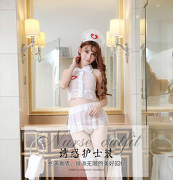 Wholesale Sexy Erotic Nurse - 2017 New Sexy Lady One Outfit White Lace Nurse Uniform Naughty Women Doctor Office Game Cosplay Lingerie Erotic Maid Teddy Slips