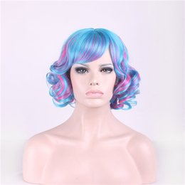 Wholesale Red Hair Nets - Cosplay Hair Wigs Lolita Harajuku Cartoon Short Curly Side Bang Heat Resistant Wigs 3 Colors with Hair Net