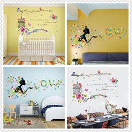 Wholesale Bird Home Nursery - Spring home decor wall stickers for Kids Room Decor Sticker Cute Flowers bird girl Dandelion decorative wall Stickers