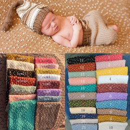 Wholesale Black Blue Wrap Baby - 140*50cm Wraps Knit Bobble WNewborn Baby Photography Backdrops Background Newborn Fotografia Blanket Props