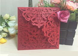 Wholesale Elegant Purple Invitations - Elegant Laser Cut Hollow Flower Wedding Invitations Cards 2016 High Quality personalized Bridal Invitation Card Cheap DHL free shipping