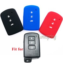 Wholesale Toyota Key Holders - Silicone Smart 4 Buttons Key Fob Cover Case Holder Jacket for Toyota Camry Levin Rav4