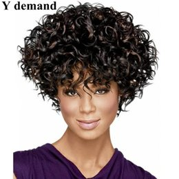 Wholesale Short Sexy Wig - Afro Fashion Short Black Blonde Sexy Wig High Quality Classical Style Wig Curly Synthetic Hair Full Wigs Celebrity Wig Wholesale