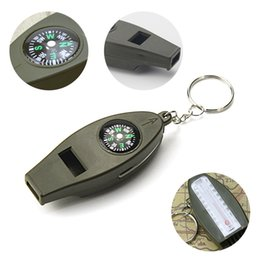 Wholesale Compass Whistles - 4-in-1 Outdoor Hiking Survival Whistle Thermometer with Compass Keychain and Magnifying glassTravel Camping Survival Kit