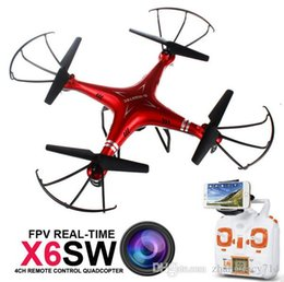 Wholesale Rc Helicopter Video Real Time - 2017 Newest Camera Drone X6SW RC Drones with Camera Real Time Transport Video WIFI FPV Quadcopter Helicopter VS Syma Drone X5SW