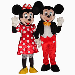 Wholesale Dress S M L - high quality Mickey and Minnie Mouse Mascot Adult Mascot Costume Party Clothing Fancy Dress Free Shipping