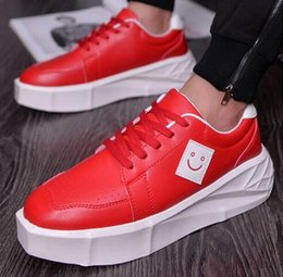 Wholesale Thick Sole Platform Shoes - mens thick sole heighten increasing casual shoes fashion boys flat platform shoes smile logo
