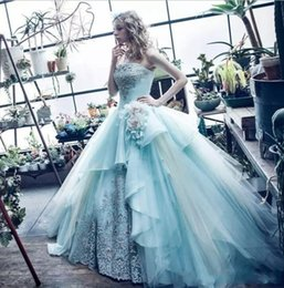 Wholesale Ocean Hunter - 2018 Ocean Blue Strapless Ball Gown Quinceanera Dresses Embroidery Lace Flowers Tulle Sweet 16 Gowns Vestidos De Quinceanera Dresses