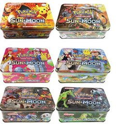 Wholesale Pokemon Boxes - 2017 DHL Ship Poke Trading Cards XY Series Collectors Tin English Edition Anime Pocket Monsters Cards Toys Metal Boxes Packing 41pcs lot